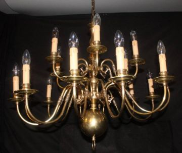 VINTAGE  FLEMISH BRASS CHANDELIER  2 tier 18 arm  CEILING LIGHT - Ref: AAP5